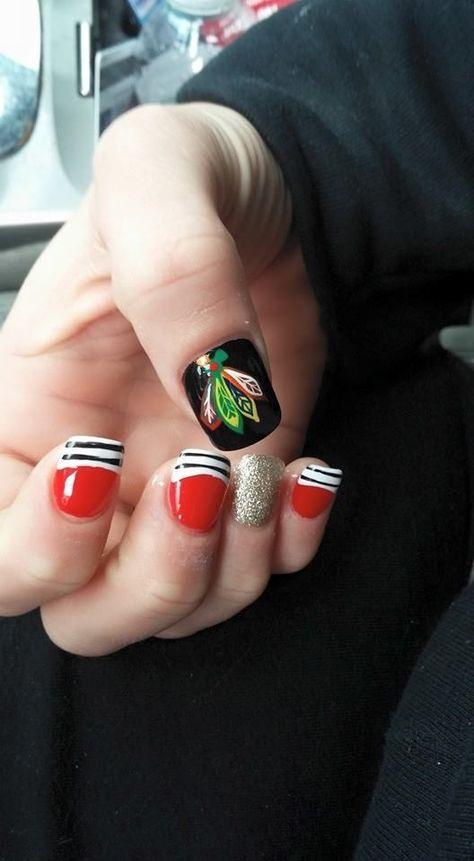 #Blackhawks nail art!  #DivaNails  #Blackhawks nail art!