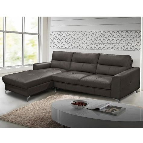 Healy Left Corner Sofa In Grey Faux Leather With Chrome Legs Grey Corner Sofa Corner Sofa Sofa Shop