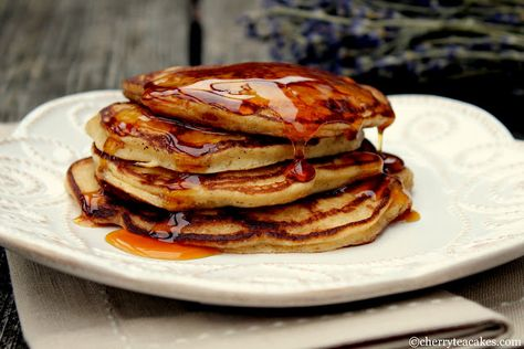 Apple Cider Buttermilk Pancakes with Apple Caramel Syrup...