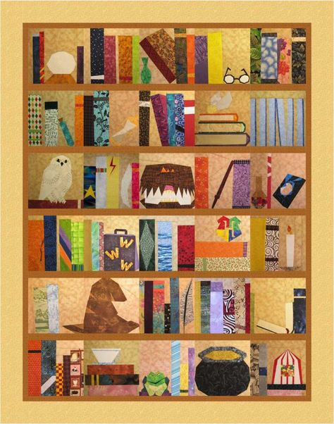 Harry Potter inspired book quilt ... paper-pieced HP blocks ...