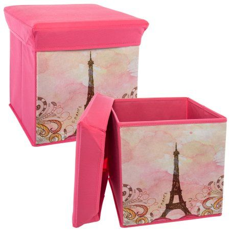 Italia 2 Pack 12 Inch Paris Cubed Storage Ottoman Foldable Fabric Collapsible Organizer Toy Bin Walmart Com Cube Storage Storage Ottoman Toy Bins
