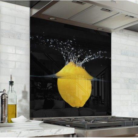fond de hotte citron jaune verre et