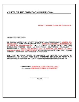 Resultado De Imagen Para Plantilla Para Editar En Word Carta De Recomendación Personal Carta De Referencia Cartas De Recomendacion Ejemplo De Carta Formal