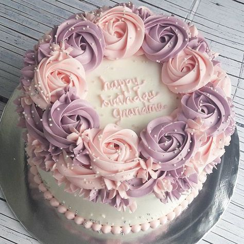 Pink Purple Roses Birthday Cake With Flowers Cake Mom Cake