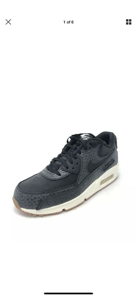 wholesale dealer 52f6c e2248 790 Nike Womens Air Max 90 Premium Sneakers Black White Gum Bottom Size 8