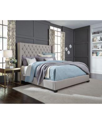 Monroe Upholstered California King Bed Created For Macy S Queen Upholstered Bed Upholstered Bedroom Grey