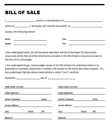 free-vehicle-bill-of-sale- - car bill of sale template Legal