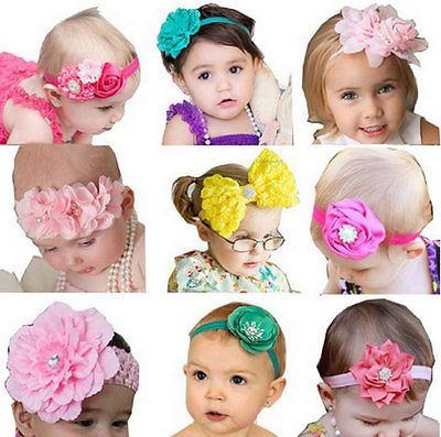 9pcs Kids Baby Girl Flower Different Styles Headband Headwear Hair Accessories Make Baby Headbands Diy Baby Headbands Baby Hair Bows