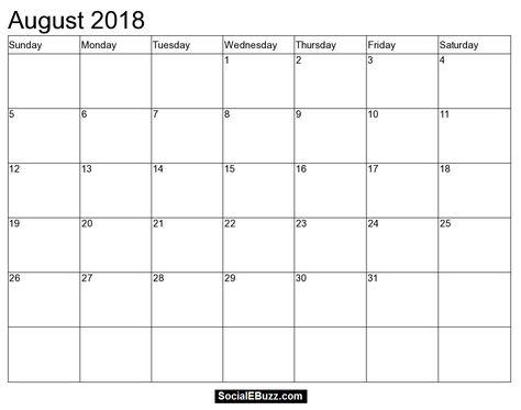 calendar printable august 2018