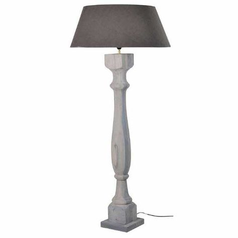 Shabby Chic Tall Grey Wash Wood Floor Lamp with Shade Ex