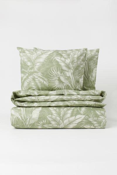 Patterned Duvet Cover Set Green Leaf Print Home All H M Gb In 2020 Duvet Cover Pattern Duvet Cover Sets Duvet Covers
