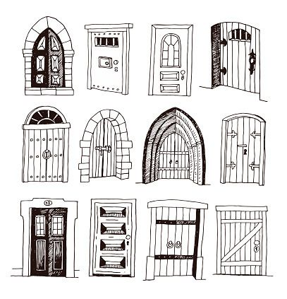 Set Of Old Door Icon Illustration Vector Illustration House Drawing Vector Art