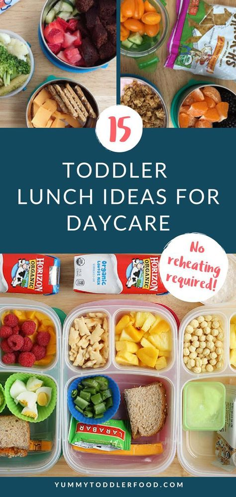 Try these healthy toddler lunch ideas when your little one needs a meal for preschool daycare or the sitter. Theyre toddler meals that are easy to pack and that dont need to be reheated. Healthy Toddler Lunches, Healthy Toddler Meals, Toddler Snacks, Healthy Snacks, Kid Lunches, Kid Snacks, School Lunches, Toddler Lunchbox Ideas, Toddler Lunch Box