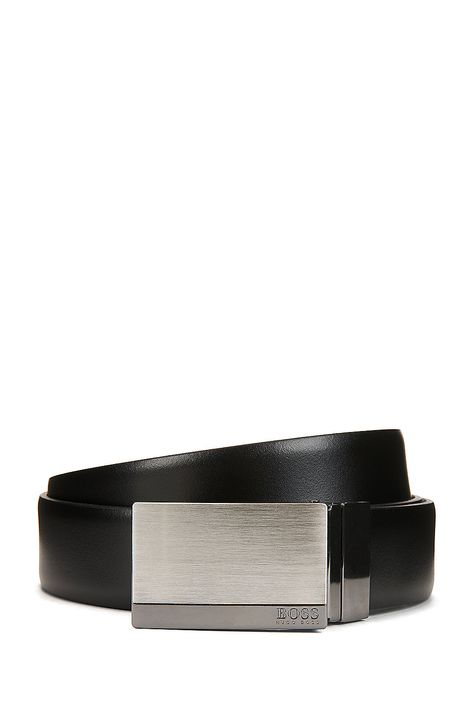 c46e52989f80 HUGO BOSS Reversible smooth leather belt with brushed-silver plaque closure  - Black Business Belts from BOSS for Men in the official HUGO BOSS Online  Store ...