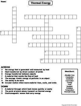 Thermal Energy Worksheet Crossword Puzzle By Science Spot Tpt Thermal Energy Crossword Puzzle Energy