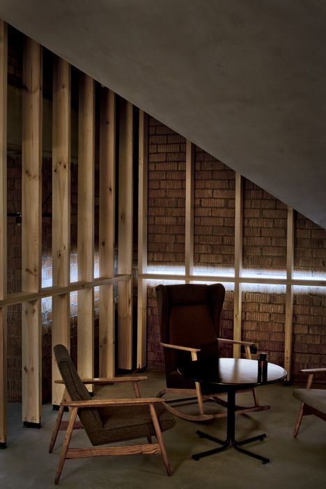 Attic Bar In A Belarus House With Low Ceilings And Exposed Brickwork Attic Renovation Attic Design Attic Spaces