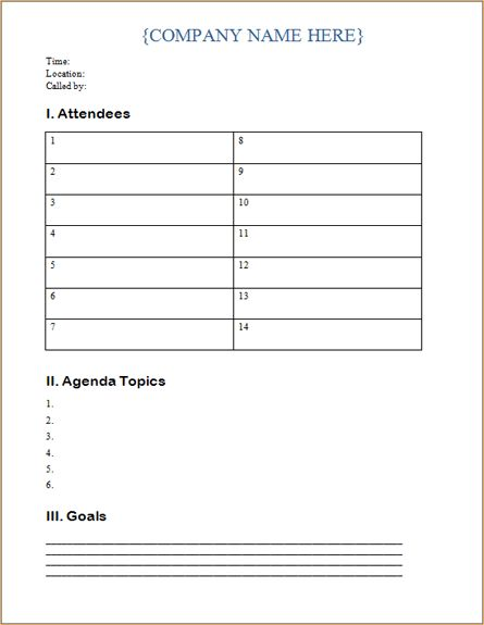 Free Meeting Agenda Template Work Meeting agenda template