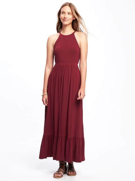 e3d462f7bfe High-Neck Ruffle-Hem Maxi Dress for Women