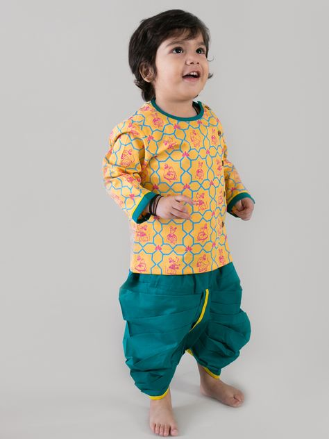 bef3abe3b4fd5 Revamp the traditional dhoti kurta set with Tiber Taber's original mouse  print set. Fun, colorful and bright just like our little lad. 100% cotton  for 100% ...