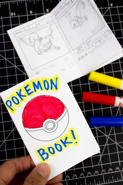 Mini Printable Pokemon Booklets From 1 Sheet Of Paper Pokemon Craft Pokemon Card Template Pokemon