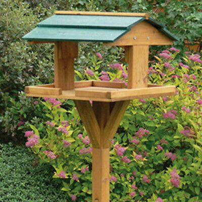 Garden Wooden Table Traditional Birds House Free Standing Bird Feeding Feeder