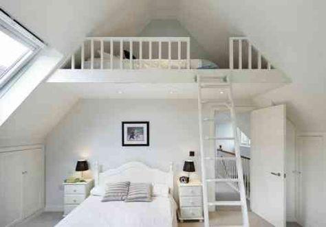 lit en mezzanine et déco de chambre à coucher | Loft room ...