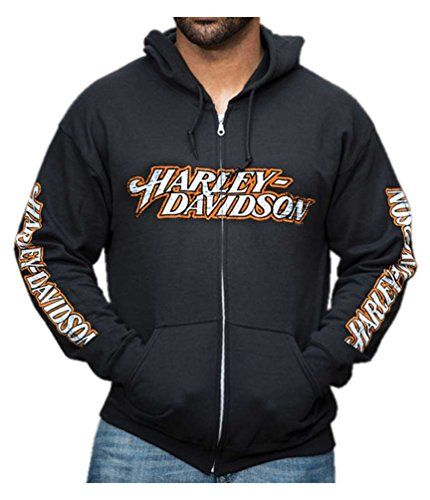 Harley Davidson Mens Distressed Everlong H D Script Zippe