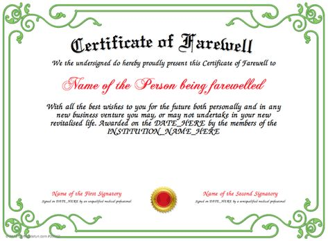 Farewell - Give to a special person who is going away and leaving - life membership certificate template