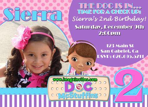 Doc Mc Stuffins Photo Birthday Invitations Invites Personalized