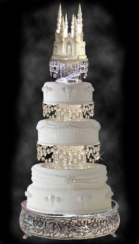 Gorgeous Wedding Cake with Swarovski Crystal Cinderella Castle Royal Wedding Cake Topper | Do It Darling