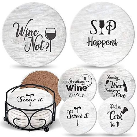 Coasters for Drinks Absorbents with Holder - 6 Pcs Gift Set with 6 Funny Sayings for Wine Lovers - Ceramic Stone with Corked Back, Unique Present for Housewarming, Living Room Decor - Grey With 6 Scripts