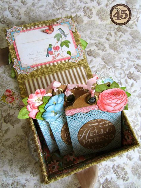 Graphic 45 Botanical Tea Book Box by Maria Cole. Made with the new book box, ATC tags, washi tape, and shabby chic staples!