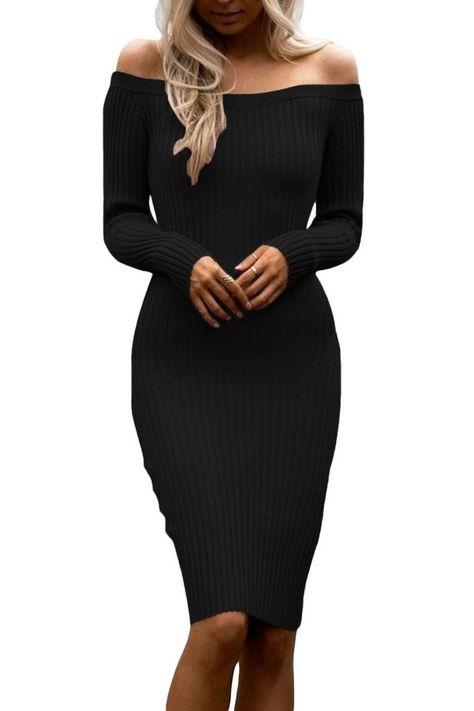 baskets pour pas cher sélection mondiale de design exquis Robes Pull Tricot Noir Manches Longues Moulante Mi Longue ...