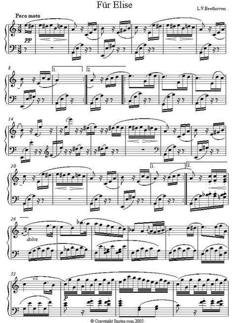 Beethoven Fur Elise Original Sheet Music For Piano Piano