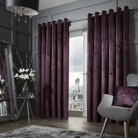 Downton Eyelet Purple Ready Made Curtains Velvet Curtains Living Room Contemporary Curtains Living Room Decor Curtains