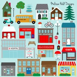 Town Buildings Digital Stamps Clipart Etsy In 2021 Town Building Clip Art The Neighbourhood