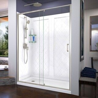 Dreamline Flex 36 In D X 60 In W X 76 3 4 In H Pivot Shower Door Shower Base And Backwall Kit 36 X 60 Chrome Finish Left White