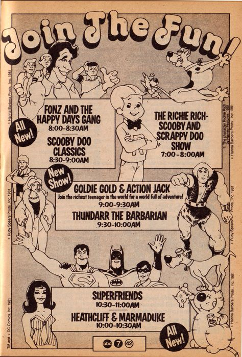 "gameraboy: ""Saturday morning cartoons on ABC, 1981 """