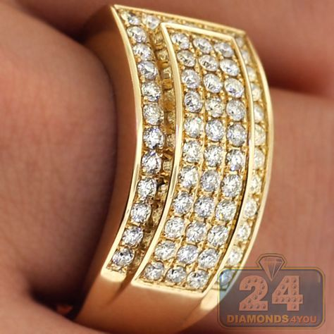 Mens Diamond Slanted Band Ring 14k Yellow Gold 1 55 Ct 12 Mm Jewelry Luxury Silver Jewellery Mens Diamond Jewelry