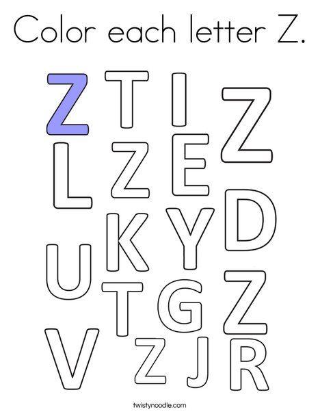 Color Each Letter Z Coloring Page Twisty Noodle Lettering Letter Z Kids Math Worksheets