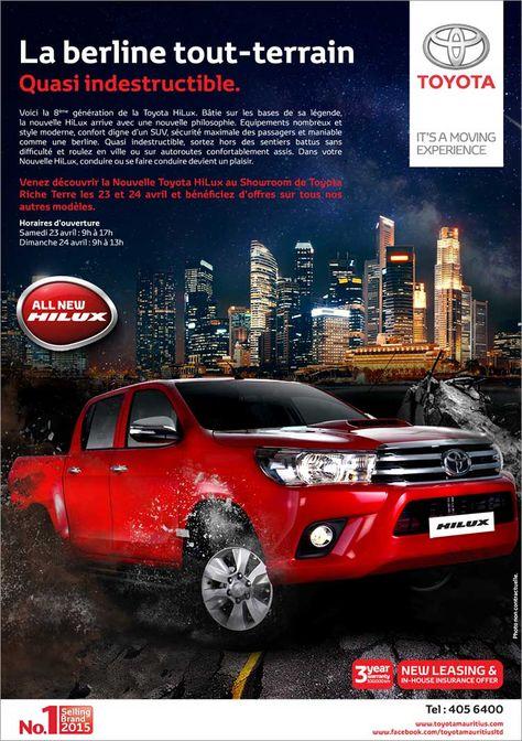 Toyota Mauritius Ltd Venez Decouvrir La Nouvelle Toyota Hilux Au Showroom De Toyota Riche Terre Les 23 Et 24 Avril Tel 405 6400 Adverts Latest