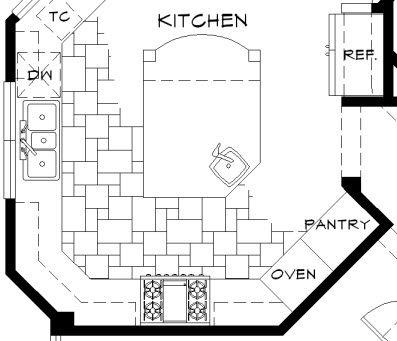 Autocad Kitchen Floor Plan Drawing Showing Versailles Floor Tile