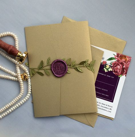 Floral purple green print gold leaf shimmer pocket folding with green leaf ribbon plum wax seal wedding invitation suite by IvoryInvitations on ideas wedding invitations purple green bridal shower for 2019 Purple Wedding Invitations, Diy Invitations, Wedding Invitation Suite, Weding Invitation Ideas, Invitation Kits, Wedding Suite, Vintage Invitations, Green Bridal Showers, Envelope Art