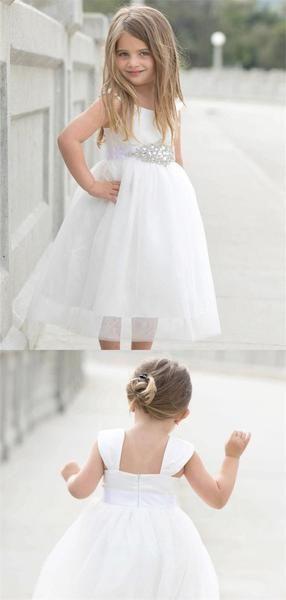 A Line Sleeveless Square Neck Tea Length Flower Girl Dresses