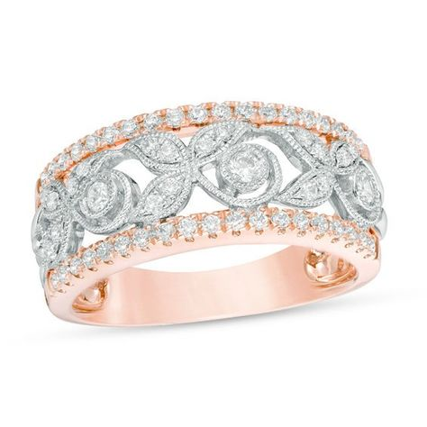 1c446dce1 T.w. Diamond Vine with Leaves Vintage-Style Anniversary Band in 10K  Two-Tone Gold
