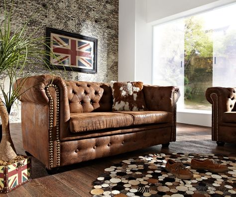 Sofa Chesterfield 160x88 Braun Wildlederoptik 2Sitzer GIVE ME - chesterfield sofa holz modern