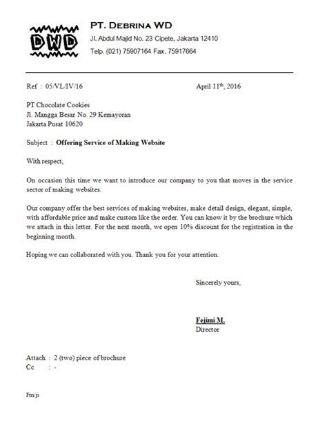 Contoh Surat Penawaran Jasa Hukum Bahasa Inggris Contoh