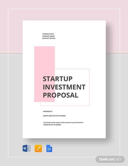 Startup Investment Proposal Template Free Pdf Google Docs Word Publisher Template Net Proposal Templates Business Proposal Template Paper Template Design