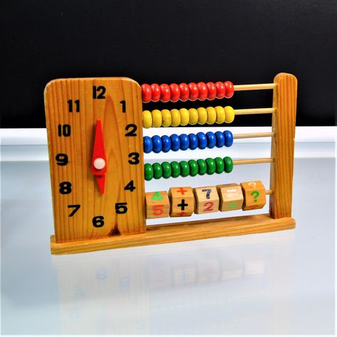 Vintage Wooden Abacus Learning Toy Time Clock Educational Counting