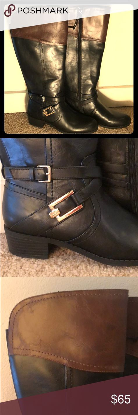 5dcbb69be0e8 Knee high Liz Claiborne two tone Boots wide calf 8 Brand New never been worn  Liz